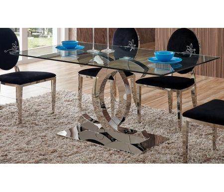 Стол FT151Стеклянные столы<br><br><br>Длина: 160 см<br>Ширина: 90 см<br>Высота: 76 см<br>Материал каркаса: металл