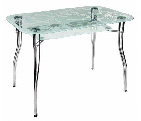 Стол Karo 6Стеклянные столы<br>Закаленное стекло обладает устойчивостью к разрушению и высоким температурам.<br> <br>Размеры нижней столешницы 79 см х 39 см. Толщина стекла 8 мм. <br>  Максимальная нагрузка - 100 кг.<br><br>Длина: 109 см<br>Ширина: 69 см<br>Высота: 77 см<br>Материал каркаса: хромированный металл<br>Материал столешницы: закаленное стекло