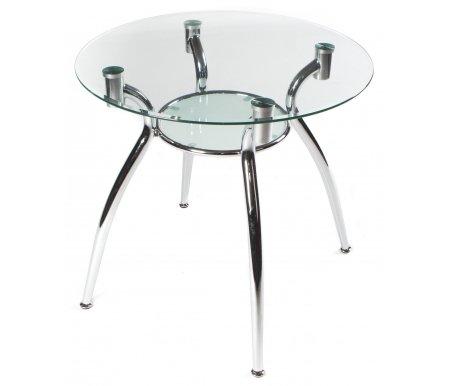 Стол Kurt 90Стеклянные столы<br><br><br>Длина: 90 см<br>Ширина: 90 см<br>Высота: 74 см<br>Материал каркаса: хромированный металл<br>Материал столешницы: закаленное стекло