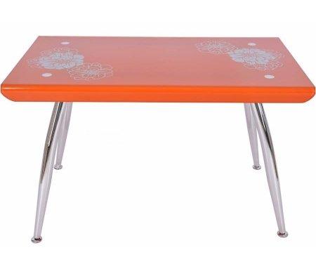 Стол обеденный B257-3(C) orangeСтеклянные столы<br>Стол не имеет раскладной механизм. На столешнице изображен цветок.<br>