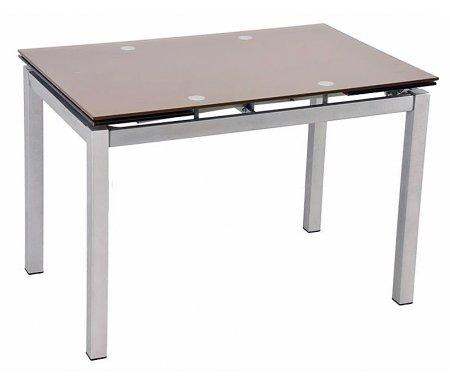 Стол обеденный S17 шампань / silverСтеклянные столы<br>Стол имеет хромированные ножки, на столешнице изображены цветы. Изделие раскладывается и увеличивается в длине со 110 см до 170 см.<br>