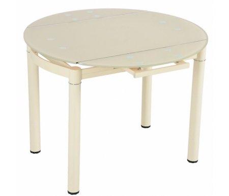 Стол обеденный S45 beigeСтеклянные столы<br>Столешница имеет круглую форму, но в разложенном виде стол приобретает прямоугольную форму с закругленными прямоугольными краями.<br>