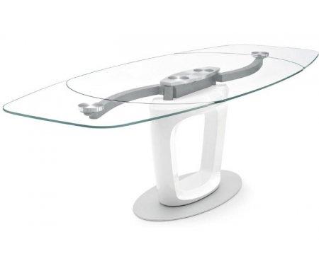 Стол ORBITAL белый (P93FIN) / стекло экстра прозрачное (GXT)Стеклянные столы<br>Стол раскладывается до 210 см, до 255 см.<br>