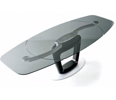 Стол ORBITAL черный (P15FIN) / стекло серое дымчатое (GTG)Стеклянные столы<br>Стол раскладывается до 210 см, до 255 см.<br><br>Длина: 165 см (раскладывается до 210 см, до 255 см)<br>Ширина: 105 см<br>Высота: 75 см<br>Материал каркаса: металл<br>Цвет каркаса: белый, черный<br>Материал столешницы: закаленное стекло<br>Цвет столешницы: прозрачный, дымчатый серый