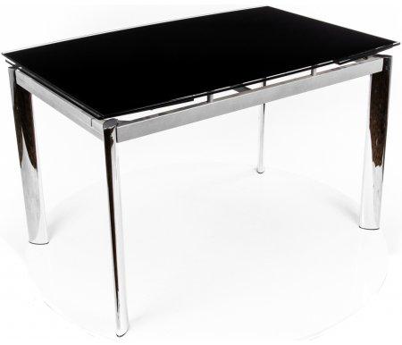 Стол S 300T черныйСтеклянные столы<br>Боковые стороны (по длине стола) имеют полуовальную форму.<br><br>Длина: 120 см (раскладывается до 180 см)<br>Ширина: 80 см<br>Высота: 76 см<br>Материал каркаса: металл<br>Цвет ножек: хром<br>Цвет подстолья: алюминий<br>Материал столешницы: закаленное стекло (толщина 10 мм)<br>Цвет столешницы: черный