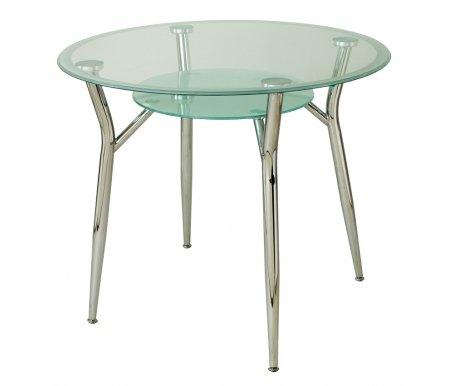 Стол стеклянный А6КСтеклянные столы<br><br><br>Длина: 90 см<br>Ширина: 90 см<br>Высота: 76 см<br>Материал каркаса: хромированный металл<br>Материал столешницы: закаленное стекло