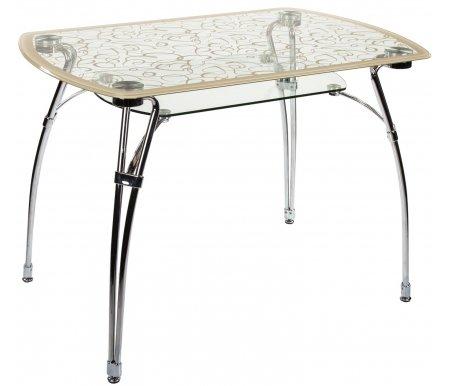 Стол стеклянный А7С-2 рисунок кремСтеклянные столы<br>Каркас стола А7С-2 изготовлен из металла, столешница и подстолье - закаленное стекло.<br>