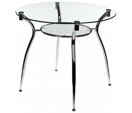 Стол стеклянный A 001Стеклянные столы<br>Верхняя столешница - прозрачное стекло, нижняя - матовое.<br><br>Длина: 90 см<br>Ширина: 90 см<br>Высота: 75 см<br>Материал ножек: металл<br>Цвет ножек: хромированный металл<br>Материал столешниц: закаленное стекло (8 мм)<br>Объем упаковки: 0,053 м.куб<br>Вес: 22,4 кг