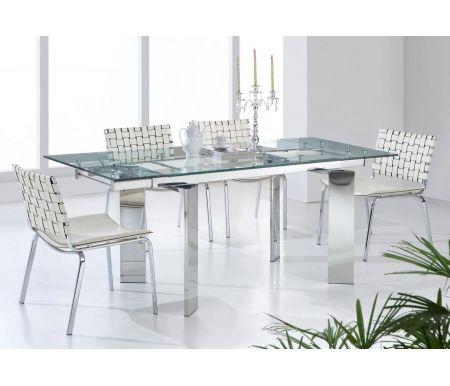 Стол T095Стеклянные столы<br>Каркас стола T095 изготовлен из хромированного металла, столешница выполнена из закаленного прозрачного стекла. Изюминкой стола являются ножки, повернутые под нестандартным углом.<br><br>Длина: 140 см (раскладывается до 200 см)<br>Ширина: 90 см<br>Высота: 75 см<br>Материал каркаса: хромированный металл<br>Материал столешницы: закаленное стекло