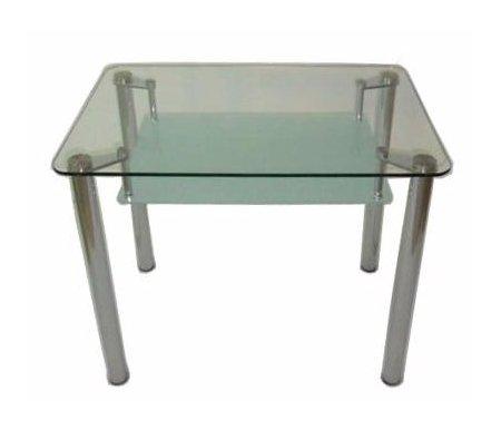 Стол T612BСтеклянные столы<br>Нижняя столешница матовая.<br><br>Длина: 90 см<br>Ширина: 60 см<br>Высота: 75 см<br>Материал каркаса: хромированный металл<br>Материал столешницы: каленое стекло (12 мм)