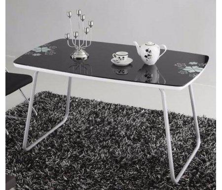 Стол T939-2Стеклянные столы<br><br><br>Длина: 120 см<br>Ширина: 75 см<br>Высота: 75 см<br>Материал каркаса: хромированный металл<br>Материал столешницы: каленое стекло<br>Цвет столешницы: черный