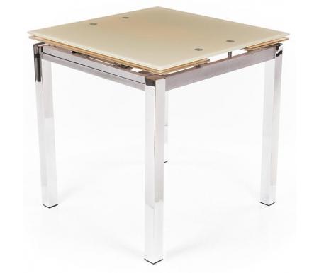 Стол раскладной TB017-11 бежевыйСтеклянные столы<br><br><br>Длина: 74 см (раскладывается до 124 см)<br>Ширина: 74 см<br>Высота: 75 см<br>Материал каркаса: металл<br>Цвет ножек: хром<br>Цвет подстолья: алюминий<br>Материал столешницы: закаленное стекло (толщина 10 мм)<br>Цвет столешницы: бежевый