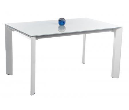 Стол TRACK 140 белый (BI) / экстра белый (VEXB)Стеклянные столы<br>Стол TRACK 140 раскладывается до 200 см, при раздвижении ножки остаются по краям стола, что позволяет с комфортом разместить гостей. <br><br> Столешница выполнена из закаленного стекла.<br>