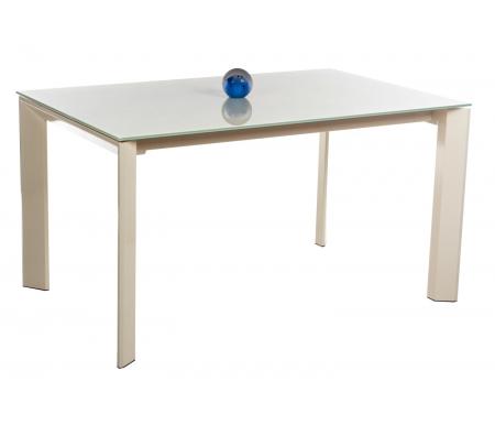 Стол TRACK 140 песочный (SB) / песочный (VESB)Стеклянные столы<br>Стол TRACK 140 раскладывается до 200 см, при раздвижении ножки остаются по краям стола, что позволяет с комфортом разместить гостей. <br><br> Столешница выполнена из закаленного стекла.<br>