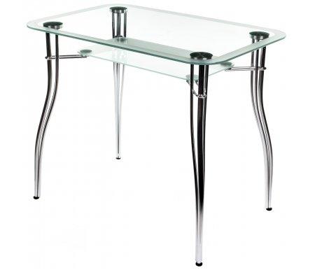 Стол Vass без рисункаСтеклянные столы<br><br><br>Длина: 90 см<br>Ширина: 60 см<br>Высота: 76 см<br>Материал каркаса: хромированный металл<br>Материал столешницы: закаленное стекло