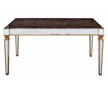 Стол обеденный зеркальный мраморная столешница KFC1152E7BКухонные и обеденные<br>Ножки стола имеют зеркальную поверхность.  <br>Столешница выполнена из мрамора, бока также имеют зеркальную поверхность.<br> <br>Размеры стола (В x Ш x Г) : 78 x 160 x 90 см.<br>