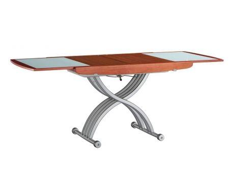 Купить Стол-трансформер ESF, 2138 вишня шпон, матовый металл / вишня / матовое стекло