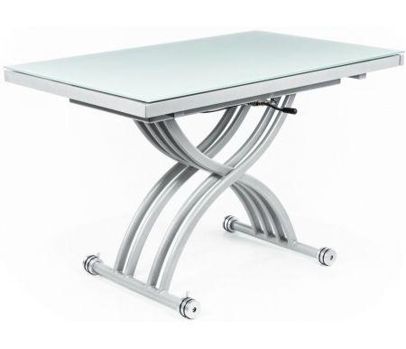 Стол-трансформер B2109 белыйСтолы-трансформеры<br>Каркас стола-трансформера 2109 изготовлен из матового металла, столешница выполнена из закаленного белого стекла, материал вставок - МДФ, окрашенный серебристой краской. Обладает удобной раскладкой.<br><br>  <br><br><br>Также можно регулировать высоту стола (от 30 до 76 см). За разложенным столом можно разместить до 10 человек.<br>