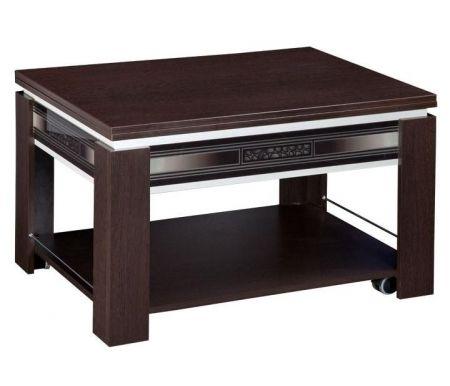 Журнальный стол Агат 24.10Столы-трансформеры<br>Агат 25.10 - журнальный стол, легко трансформируется из журнального в обеденный. При разложении длина столешницы увеличивается вдвое. По периметру расположены декоративные вставки из стекла с рисунком, на царге - эффект серебряного градиента. Выполнен из ЛДСП (16 мм), двух видов ПВХ (0,4 и 2 мм) и МДФ (16 мм).<br><br>Цвет: Дуб Венге / Синга Крем<br>Цвет: Дуб Кобург / Синга Крем<br>Цвет: Ясень Шимо темный / Синга Крем