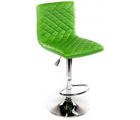 Барный стул Loft зеленыйБарные стулья<br><br><br>Ширина: 39 см<br>Глубина: 57 см<br>Глубина сиденья: 40 см<br>Высота по спинке: от 90 см до 111,5 см<br>Высота по сиденью: от 58 см до 74,5 см<br>Материал каркаса: хромированный металл<br>Материал сиденья и спинки: кожзаменитель<br>Цвет: зеленый<br>Механизм подъема: есть
