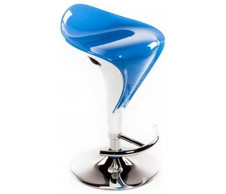 Барный стул Mario бело-синийБарные стулья<br><br><br>Ширина: 42 см<br>Глубина: 40 см<br>Глубина сиденья: 32,5 см<br>Высота по спинке: от 73 см до 94,5 см<br>Высота по сиденью: от 61 см до 82,5 см<br>Материал каркаса: хромированный металл<br>Материал сиденья и спинки: ABS-пластик<br>Цвет: белый / синий<br>Механизм подъема: есть