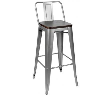 Барный стул Стул Груп Tolix со спинкой серебристый матовый / темное дерево / Тиоли со спинкой серебристый матовый / темное дерево фото