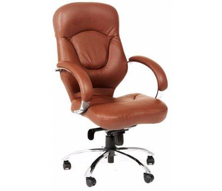 Компьютерное кресло Chairman 430 коричневоеКомпьютерные кресла<br>В представленной компьютерного кресла 430 присутствует механизм качания повышенной комфортности с возможностью фиксации кресла в рабочем положении. <br><br> <br>Материал подлокотников: металл с кожаными накладками.<br> <br>Материал крестовины: хромированный металл.<br> <br>Объем упаковки 0,22 куб. м.<br> <br>Вес 22,8 кг.<br>
