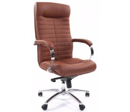 Компьютерное кресло 480 коричневоеКомпьютерные кресла<br>Механизм качания: повышенной комфортности с возможностью фиксации кресла в рабочем положении. <br>Механизмом регулировки жесткости качания: есть.<br><br>Материал подлокотников: металл с накладкам из экокожи.<br><br>Материал крестовины: хромированный металл.<br><br>Материал обивки: экокожа.<br><br>Механизм качания: есть.<br>