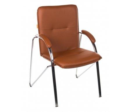 Компьютерное кресло 850 светло-коричневое из экокожиКомпьютерные кресла<br>Материал подлокотников: металл с накладками из экокожи.<br> <br>Полозья хромированный металл.<br>