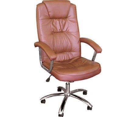 Компьютерное кресло 9005L коричневоеКомпьютерные кресла<br>Мягкий наполнитель спинки и сиденья - поролон плотностью не менее 30 кг/куб.м. <br>Материал подлокотников:кожа.<br> <br>Материал крестовины:хромированный металл.<br> <br>Материал обивки:кожа первой категории.<br> <br>Вес: 18 кг.<br>