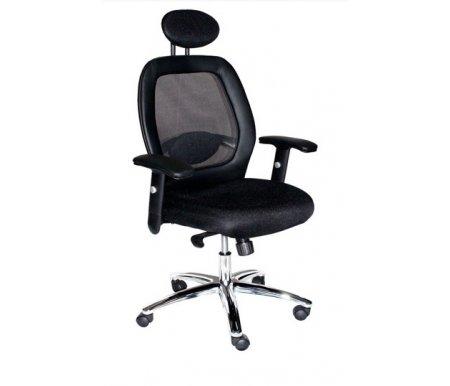 Компьютерное кресло 9520 F-1 черноеКомпьютерные кресла<br>Материал подлокотников: кожа.<br>Материал крестовины: хром.<br><br>Материал обивки: сетчатая ткань / кожа.<br><br>Механизм качания: есть.<br><br>Вес: 22 кг.<br>  <br><br>  <br>    Кресло оснащено регулируемым по высоте подголовником и подлокотниками, сиденье регулируется по высоте газлифтом. В поясничной зоне расположен валик, поддерживающий спину. <br>       <br>        <br>       <br>     <br>      Сетчатая ткань MESH отлично пропускает воздух, мягкая на ощупь.<br>