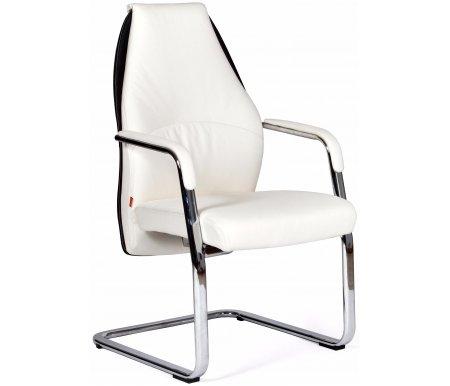 Кресло Chairman Basic V бело-черноеКомпьютерные кресла<br>Материал подлокотников: металл с кожаными накладками.<br><br>Полозья хромированный: металл.<br>