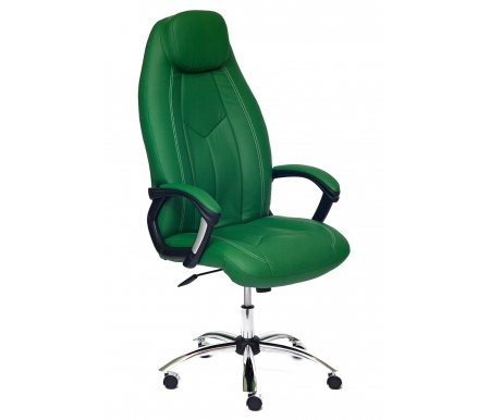 Купить Компьютерное кресло Тетчер, Boss зеленое / зеленое перфорированное 36-001 / 36-001 / 06 люкс хром кожзам, Россия, зеленый
