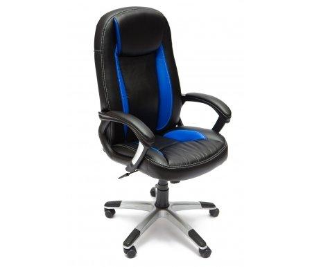 Компьютерное кресло «Бриндиси» (Brindisi) черное / синее с серебристой крестовинойКомпьютерные кресла<br>-Кресло «Бриндиси» и«Бриндиси СТ»идеально подходит людям, которые проводят много времени за компьютером и чувствуют напряжение в спине.<br> <br>  -Мягкое сидение и спинка позволяет достичь максимальное удовольствие и расслабление.<br> <br>  -Помимо повышенного комфорта, кресло поможет вам подчеркнуть Ваш вкус.<br> <br>  - Материал крестовины: Пластик<br> <br>  - Материал обивки: Экокожа<br> <br>  - Материал подлокотников: Пластик<br> <br>  - Механизм качания: с фиксацией в крайних положениях<br> <br>  - Подголовник: Без подголовника<br> <br>  Максимальная высота стула - 135 см.<br>