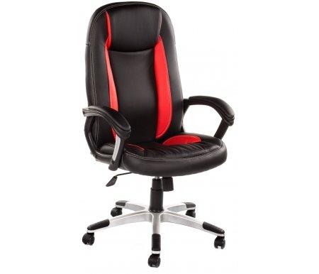 Компьютерное кресло «Бриндиси» (Brindisi) черное / красное с серебристой крестовинойКомпьютерные кресла<br>-Кресло «Бриндиси» и«Бриндиси СТ»идеально подходит людям, которые проводят много времени за компьютером и чувствуют напряжение в спине.<br> <br>  -Мягкое сидение и спинка позволяет достичь максимальное удовольствие и расслабление.<br> <br>  -Помимо повышенного комфорта, кресло поможет вам подчеркнуть Ваш вкус.<br> <br>  - Материал крестовины: Пластик<br> <br>  - Материал обивки: Экокожа<br> <br>  - Материал подлокотников: Пластик<br> <br>  - Механизм качания: с фиксацией в крайних положениях<br> <br>  - Подголовник: Без подголовника<br> <br>  Максимальная высота стула - 135 см.<br>