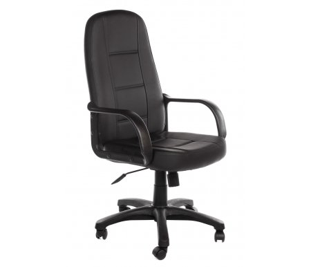 Компьютерное кресло CH747 черный, экокожаКомпьютерные кресла<br>-Кресло CH747 идеально подойдет людям, которые проводят много времени за компьютером и чувствуют напряжение в спине<br> <br>-Система повышенной эргономичности фиксирует положение спины в правильном положении, что позволяет позвоночнику испытывать наименьшее напряжение даже при длительных нагрузках<br> <br>- Материал крестовины: Пластик<br>  <br>  - Материал обивки: Ткань<br> <br>  - Материал подлокотников: Пластик<br> <br>  - Механизм качания:с фиксацией в крайних положениях<br> <br>  - Подголовник: Без подголовника.<br> <br>   <br>    <br>   <br> <br>  Максимальная высота стула - 131 см.<br>