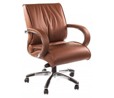Компьютерное кресло Chairman 444 коричневыйКомпьютерные кресла<br>Модель офисного кресла CH 444 можно назвать универсальной. Подходит для использования как в переговорных группах, так и в качестве кресла для руководителей, предпочитающих более компактные решения. <br>Комплектация:<br> <br>- рычаг регулировки кресла по высоте;<br> <br>- рычаг регулировки наклона с фиксацией;<br> <br>- винт регулировки жесткости качания. <br>  <br>  <br>  Кресло поставляется в разобранном виде.<br> <br>  Объем упаковки - 0,21 куб.м.<br> <br>  Вес - 28,4 кг.<br> <br>   <br>    <br>   <br> <br>  Кресло изготовлено из натуральной кожи.<br> <br>  Ве<br>