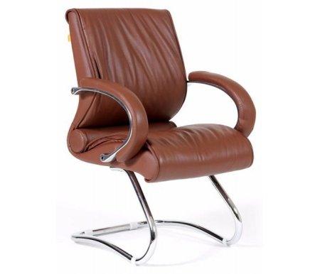 Компьютерное кресло Chairman 445 коричневое из натуральной кожиКомпьютерные кресла<br><br>