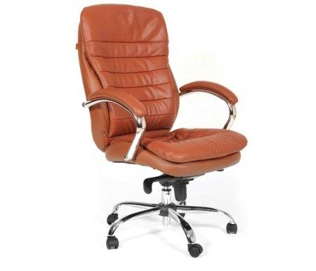 Компьютерное кресло Chairman 795 Кожа коричневаяКомпьютерные кресла<br>В представленной модели компьютерного кресла 795 присутствует механизм качания повышенной комфортности с возможностью фиксации в нескольких положениях.<br><br>  Материал подлокотников: металл с кожаными накладками.<br><br>  Материал крестовины : хромированный металл.<br>