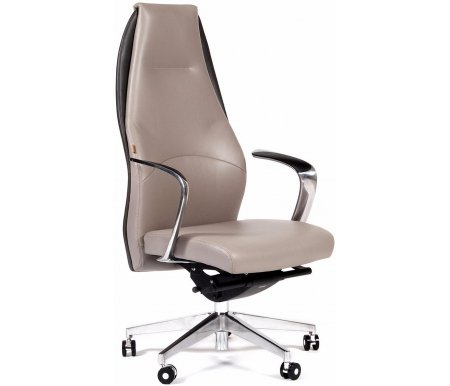 Компьютерное кресло Chairman Basic кожа светло-сераяКомпьютерные кресла<br>В данной модели присутствует механизм качания с синхронным отклонением сидения и спинки 1:3, и фиксацией кресла в нескольких положениях.<br>
