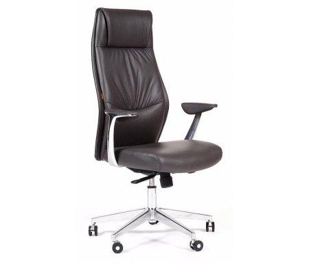 Компьютерное кресло Chairman Vista темно-серая экокожаКомпьютерные кресла<br>У представленной модели предусмотрены: регулировка высоты кресла, наклон спинки с фиксацией, регулировка жесткости качания.<br><br><br>Материал подлокотников: металл с накладками из пластика.<br><br>Материал крестовины: хромированный металл.<br>