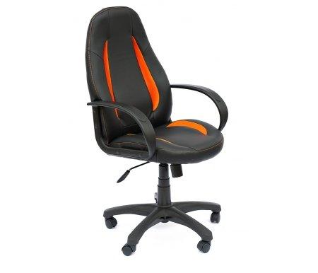 Компьютерное кресло «Энзо» (Enzo) черный / оранжевыйКомпьютерные кресла<br>-Кресло «Энзо» идеально подходит людям, которые проводят много времени за компьютером и чувствуют напряжение в спине.<br>   <br>    -Мягкое сидение и спинка позволяет достичь максимальное удовольствие и расслабление.<br>   <br>    -Помимо повышенного комфорта, кресло поможет вам подчеркнуть Ваш вкус.<br>   <br>    - Материал крестовины: Пластик<br>   <br>    - Материал обивки: Экокожа / ткань-сетка<br>   <br>    - Материал подлокотников: Пластик<br>   <br>    - Механизм качания: с фиксацией в крайних положениях<br>   <br>    - Подголовник: Без подголовника<br>   <br>    Максимальная высота - 125 см.<br>