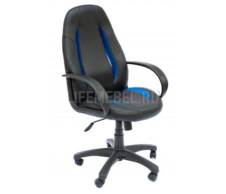 Компьютерное кресло «Энзо» (Enzo) черный / синийКомпьютерные кресла<br>-Кресло «Энзо» идеально подходит людям, которые проводят много времени за компьютером и чувствуют напряжение в спине.<br>   <br>    -Мягкое сидение и спинка позволяет достичь максимальное удовольствие и расслабление.<br>   <br>    -Помимо повышенного комфорта, кресло поможет вам подчеркнуть Ваш вкус.<br>   <br>    - Материал крестовины: Пластик<br>   <br>    - Материал обивки: Экокожа / ткань-сетка<br>   <br>    - Материал подлокотников: Пластик<br>   <br>    - Механизм качания: с фиксацией в крайних положениях<br>   <br>    - Подголовник: Без подголовника<br>   <br>    Максимальная высота - 125 см.<br>