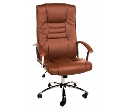 Компьютерное кресло HLC-0555 L коричневоеКомпьютерные кресла<br>Мягкий наполнитель сиденья и спинки - поролон плотностью не менее 30кг/куб.м. <br> <br>  Материал подлокотников: кожа 1-й категории.<br> <br>  Материал крестовины: хромированный металл.<br> <br>  Материал обивки: кожа 1-й категории / кожзам.<br> <br>  Вес: 18,5 кг.<br> <br>  Объем: 0,17 куб. м.<br>