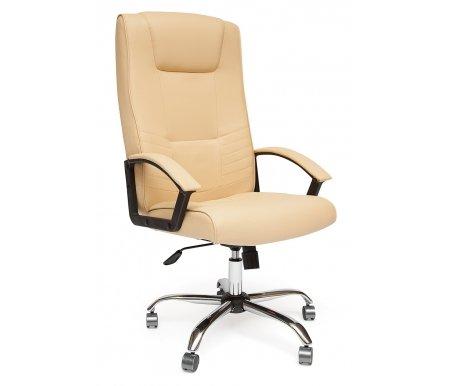 Компьютерное кресло «Максима» (Maxima) хром, бежевое из экокожиКомпьютерные кресла<br>- Кресло «Максима»идеально подходит людям, которые проводят много времени за компьютером и чувствуют напряжение в спине.<br> <br>-Мягкое сидение и спинка позволяет достичь максимальное удовольствие и расслабление.<br> <br>-Помимо повышенного комфорта, кресло поможет вам подчеркнуть Ваш вкус.<br> <br>- Материал крестовины: Хромированные металл<br> <br>- Материал обивки: Экокожа<br> <br>- Материал подлокотников: Пластик с накладками из экокожи<br> <br>- Механизм качания: с фиксацией в крайних положениях<br> <br>- Подголовник: Без подголовника.<br> <br> Максимальная высота - 131 см.<br>
