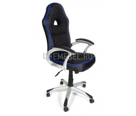 Компьютерное кресло «Пилот» (Pilot) черный / синийКомпьютерные кресла<br>-Кресло «Пилот» идеально подойдет людям, которые проводят много времени за компьютером и чувствуют напряжение в спине.<br>   <br>    -Система повышенной эргономичности фиксирует положение спины в правильном положении, что позволяет позвоночнику испытывать наименьшее напряжение даже при длительных нагрузках.<br>   <br>    <br>   <br>    - Материал крестовины: Пластик<br>    <br>      - Материал обивки: Экокожа<br>     <br>      - Материал подлокотников: Пластик<br>     <br>      - Механизм качания: с фиксацией в крайних положениях<br>     <br>      - Подголовник: Без подголовника<br>     <br>      Максимальная высота стула - 138 см.<br>