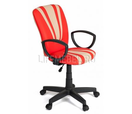 Компьютерное кресло «Спектрум» (Spectrum)  красный / бежевый / экокожаКомпьютерные кресла<br>Кресло «Спектрум» идеально подойдет людям, которые проводят много времени за компьютером и чувствуют напряжение в спине<br> <br>Система повышенной эргономичности фиксирует положение спины в правильном положении, что позволяет позвоночнику испытывать наименьшее напряжение даже при длительных нагрузках<br> <br><br> <br>Материал крестовины: пластик<br>  <br>  Материал обивки: экокожа.<br> <br>  Материал подлокотников: пластик.<br>