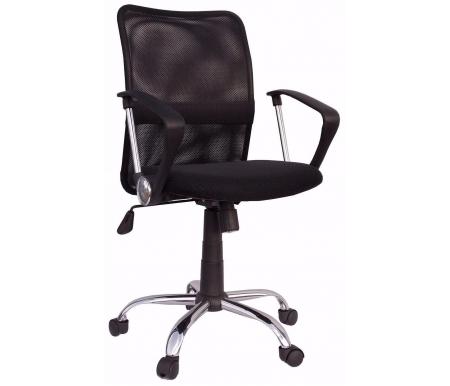 Компьютерное кресло Трикс Т-502 черноеКомпьютерные кресла<br>Материал подлокотников: пластик.<br>Материал крестовины: хромированный металл / пластик.<br><br>Материал обивки: сетчатая ткань.<br><br>Вес: 11 кг.<br>