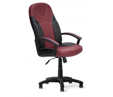 Компьютерное кресло «Твистер» (Twister) черное / бордоКомпьютерные кресла<br>-Кресло «Твистер» идеально подойдет людям, которые проводят много времени за компьютером и чувствуют напряжение в спине<br> <br>-Система повышенной эргономичности фиксирует положение спины в правильном положении, что позволяет позвоночнику испытывать наименьшее напряжение даже при длительных нагрузках<br> <br><br> <br>- Материал крестовины: Пластик<br>  <br>  - Материал обивки: Экокожа<br> <br>  - Материал подлокотников: Пластик с накладками из экокожи<br> <br>  - Механизм качания: с фиксацией в крайних положениях<br> <br>  - Подголовник: Без подголовника<br> <br>  Максимальная высота стула - 132 см.<br>