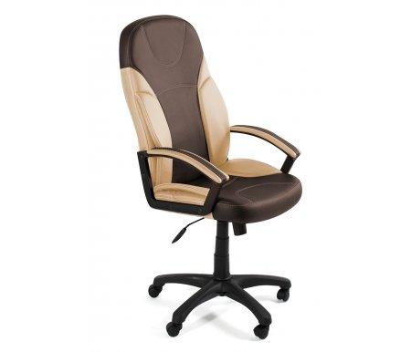 Компьютерное кресло «Твистер» (Twister) коричневое / бежевоеКомпьютерные кресла<br>-Кресло «Твистер» идеально подойдет людям, которые проводят много времени за компьютером и чувствуют напряжение в спине<br> <br>-Система повышенной эргономичности фиксирует положение спины в правильном положении, что позволяет позвоночнику испытывать наименьшее напряжение даже при длительных нагрузках<br> <br><br> <br>- Материал крестовины: Пластик<br>  <br>  - Материал обивки: Экокожа<br> <br>  - Материал подлокотников: Пластик с накладками из экокожи<br> <br>  - Механизм качания: с фиксацией в крайних положениях<br> <br>  - Подголовник: Без подголовника<br> <br>  Максимальная высота стула - 132 см.<br>